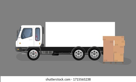 Lorry and pallet with drawers. Carton boxes. The concept of delivery and loading of cargo. Vector.