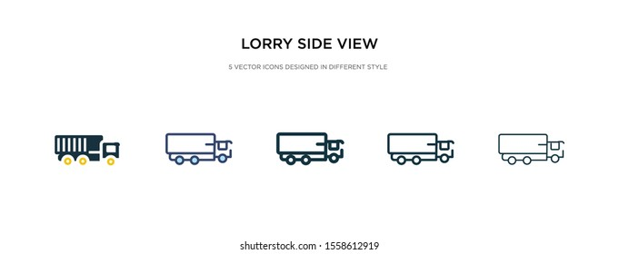 lorry side view icon in different style vector illustration. two colored and black lorry side view vector icons designed in filled, outline, line and stroke style can be used for web, mobile, ui