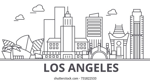 Los Angeles architecture line skyline illustration. Linear vector cityscape with famous landmarks, city sights, design icons. Landscape wtih editable strokes