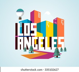 Los Angeles beautiful city in world. Vector illustration
