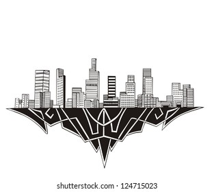 Los Angeles, CA Skyline. Black and white vector illustration EPS 8.