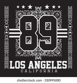los angeles, california ,college sport bandana typography, t-shirt graphics, vectors