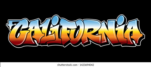 Los Angeles California Graffiti decorative lettering vandal street art free wild style on the wall city urban illegal action by using aerosol spray paint. Underground hip hop type vector illustration.