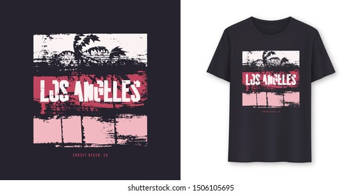 Los Angeles California graphic t-shirt vector design, typography.