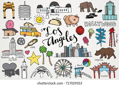 Los Angeles California Monuments & Sights Hand Drawn City Clip Art Set
