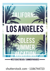 Los Angeles California Palm Landscape Surf Palm Beach Vintage Retro Slogan summer style vector design tropical paradise scene with palm and typography t-shirt and apparels print, vector illustration