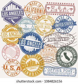 Los Angeles California Stamp Vector Art Postal Passport Travel Design Set