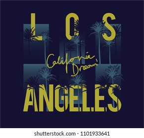 Los Angeles California Surf Palm Beach Vintage Retro California Slogan summer style vector design tropical paradise scene with palm and typography for t-shirt and apparels print, vector illustration
