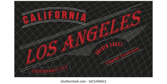 Los Angeles, California typography for design clothes, made on a black background. Graphics for print product, t-shirt, vintage sport apparel. Vector illustration.