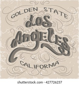 Los Angeles California Typography. T-shirt fashion stylish graphics.Original wear.