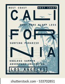 Los Angeles, California typography for t-shirt print , vector illustration