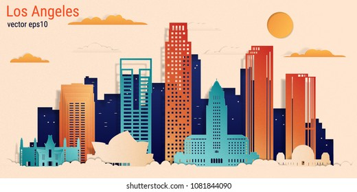 Los Angeles city colorful paper cut style, vector stock illustration. Cityscape with all famous buildings. Skyline Los Angeles city composition for design