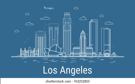 Los Angeles city, Line Art Vector illustration with all famous buildings. Linear Banner with Showplace. Composition of Modern cityscape. Los Angeles buildings set