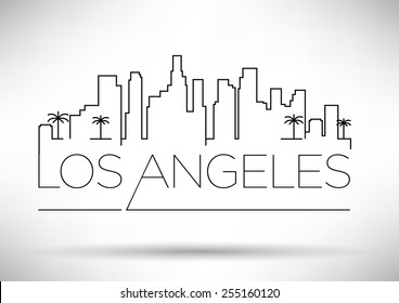 Los Angeles City Line Silhouette Typographic Design