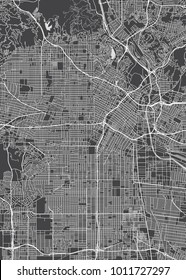 Los Angeles city plan, detailed vector map