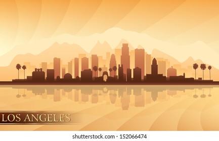 Los Angeles city skyline detailed silhouette. Vector illustration