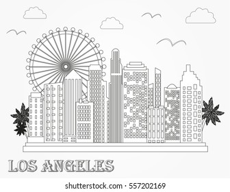 Los Angeles city skyline silhouette drawing in linear flat design.
