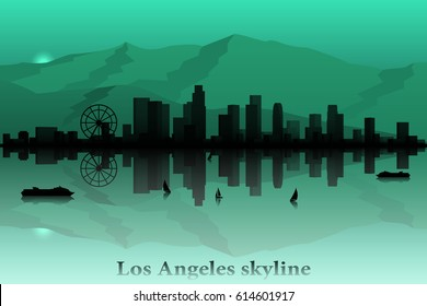 Los Angeles city skyline vector silhouette.