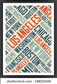 Los Angeles city words cloud poster