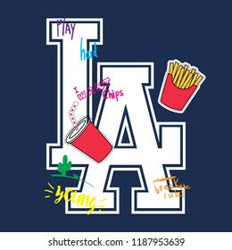 Los Angeles College Font Slogan Graphic for T-Shirt design. Soda and chips fast food illustration and graffiti words.