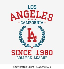 Los Angeles college typography for t-shirt. California slogan tee shirt, sport apparel print. LA vintage graphics. Vector illustration.