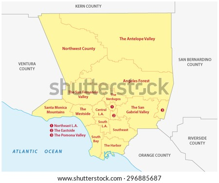 Los Angeles County Regions Map Stock Vector Royalty Free 296885687