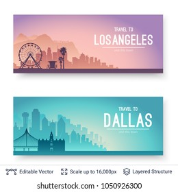 Los Angeles and Dallas famous city scapes. Flat well known silhouettes. Vector illustration easy to edit for flyers or web banners.