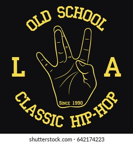 Los Angeles Hip-Hop typography for design clothes, t-shirts. Print with West Coast hand gesture. Graphic for apparel with old school rap sign. Vector illustration.