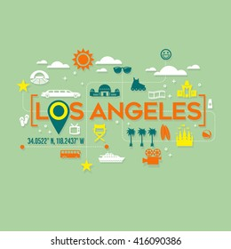 Los Angeles icons and typography design for cards, banners, tshirts, posters