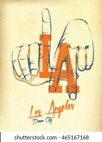 los angeles. L.A. Hand. Surf. typography, t-shirt graphics