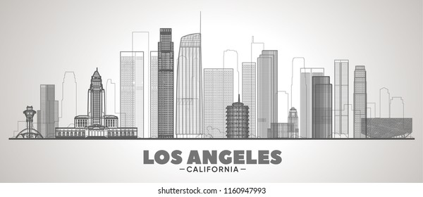 Los Angeles line skyline vector illustration on white background. Business travel and tourism concept with modern buildings. Image for presentation, banner, web site.