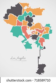 Los Angeles Map with boroughs and modern round shapes