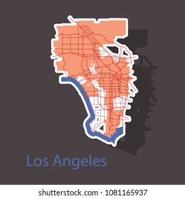 Los Angeles map. Flat style design - sticker.