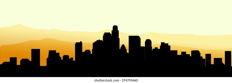 Los Angeles Morning City Skyline - Vector