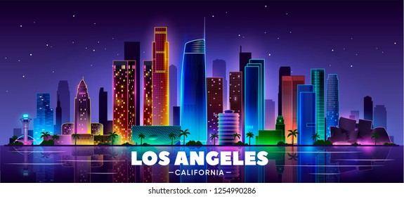 Los Angeles panoramic cityscape at night with view of downtown LA. Vector illustration.