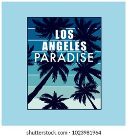 Los Angeles Paradise t-shirt print. Palm vector and typography.