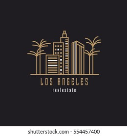 Los Angeles real estate cityscape logo template in golden and white color with towers, skyscrapers, buildings and palm trees