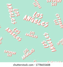 Los Angeles. Retro pattern for print design. Cartoon vector illustration. Seamless pattern design. Hand drawn calligraphy lettering vector illustration.