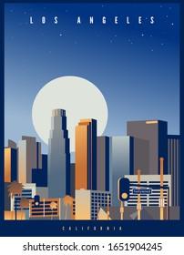 Los Angeles Skyline mit einem großen Vollmond und Sternenhimmel im Hintergrund. Vektorillustration im Retro-Stil. Kalifornien, USA