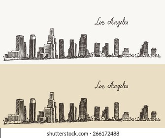 Los Angeles skyline (California), vintage engraved illustration, hand drawn, sketch