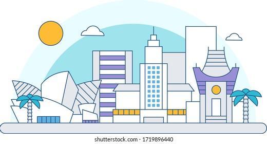 Los Angeles Skyline City Flat Design