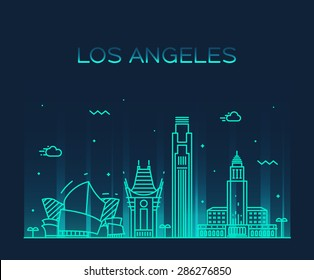 Los Angeles skyline, detailed silhouette. Trendy vector illustration, linear style.
