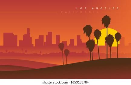 Los Angeles Skyline bei Sonnenuntergang, aus der Ferne gesehen. Vektorillustration. Stilvolles Stadtbild. Kalifornien, USA