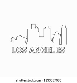 Los Angeles skyline and landmarks silhouette black vector icon. Los Angeles panorama. United States of America. USA