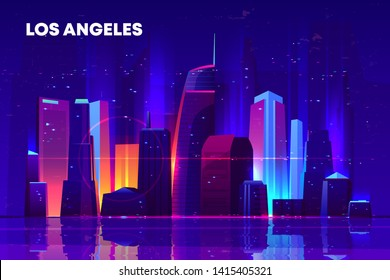 Los Angeles skyline with neon illumination. Night city architecture, modern megapolis with glowing skyscrapers near waterfront, old film with lines and pixel noise effect. Cartoon vector illustration
