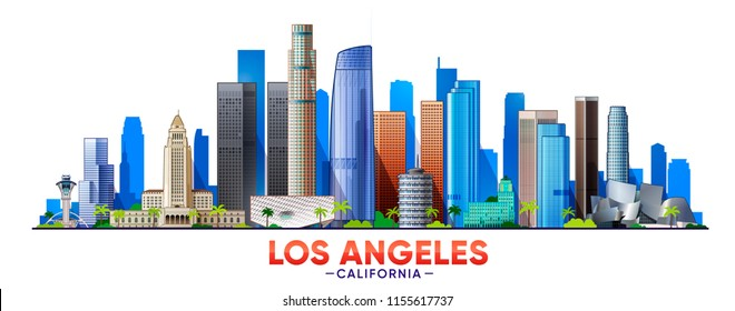 Los Angeles skyline with panorama in white background. Vector Illustration.