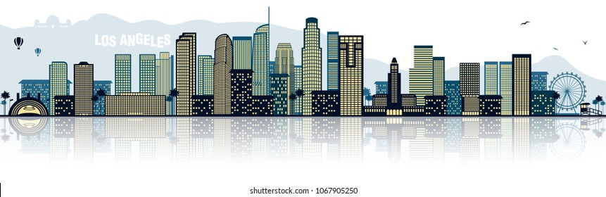 Los Angeles skyline vector blue