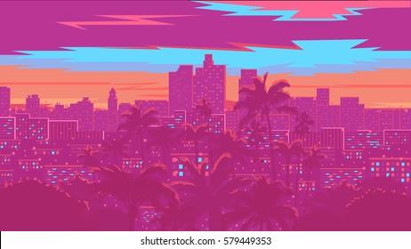 Los Angeles skyline - vector illustration. Big night city.