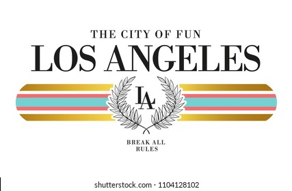 Los Angeles slogan graphic, for t-shirt prints and other uses.