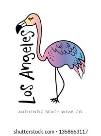 Los Angeles text and flamingo drawing / Vector illustration design for t shirt graphics, fashion prints, prints, posters, stickers etc